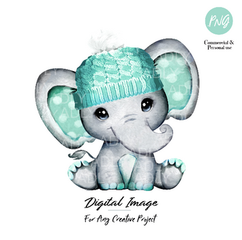 Mint boy elephant with winter hat, watercolor hand-dran mint green baby elepahnt for any project, commercial use, digital file, sublimation