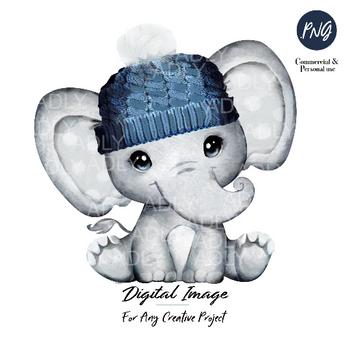 Winter elephant clip art, very cute little peanut, dark blue hat gray polka ears commercial usage, baby shower, birthday, watercolor