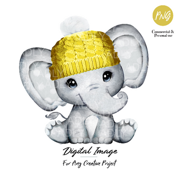 Baby elephant with yellow hat clip art, very cute little peanut, gender neutral polka ears commercial use, baby shower, birthday, watercolor
