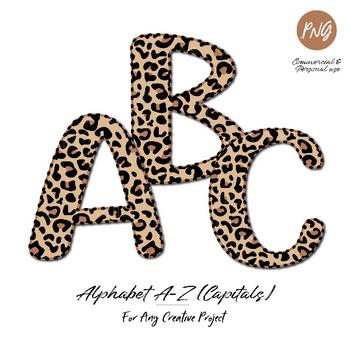 Leopard Alphabet clip art sublimation, leopard pattern capital letters doodle clipart images commercial usage, cheetah abc letters, fun font