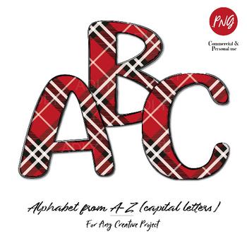 Red Plaid Alphabet clip art sublimation, fashion pattern capital letters doodle clipart images commercial usage, abc letters, Christmas