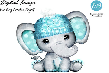 Turquoise boy elephant with winter hat, watercolor hand-dran baby elepahnt for any project, commercial use, digital file, sublimation