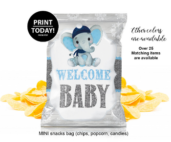 Boy Elephant Mini Chip Bag Labels Printable, Chip Bag Elephant Birthday Party Favors, popcorn mini bag, snacks bag, instant download, rustic
