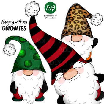 Gnome Christmas Sublimation clip art, hanging with my gnomies, red, green, leopard gnome, all separate, digital images, cute little gnomies