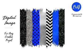 Blue Black Metallic Brush Stroke PNG for Sublimation, Bright blue brush stroke,clipart for sublimation, black glitter, neon