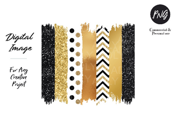 Gold Black Brush sublimation, gold chevron swash png, file for sublimation printing,transfer DTG printing,clipart, modern clipart, polka