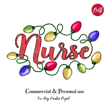 fun doodle clip art, Nurse Sublimation Christmas Lights,  digital transfer, Christmas Printable Artwork, bright, happy holidays,merry bright
