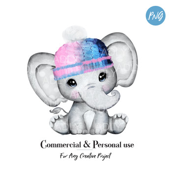 Cute Unisex Pink Blue elephant clip art, pink blue hat baby elephant for boy or girl, commercial usage baby shower sublimation african animal