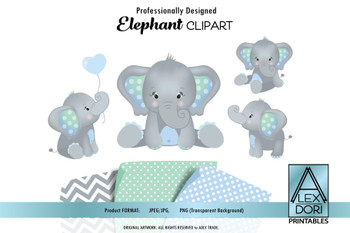 Elephant Mint Baby Blue Clipart,Baby peanut clip art, png file.Nursery, Baby Shower decoration,birthday, instant download comm use,dark blue