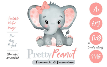 Cute Watercolor Girl Baby Elephant with a peach pink bow Clipart, SVG (print and cut only),, PNG, DIY