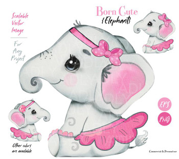 Elephant clip art EPS PNG baby shower, Girl Elephant with Bow, headband, skirt