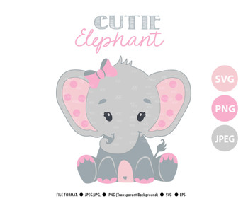 Cute girl elephant svg , girl cricut print and cut, pink bow, baby shower invitation
