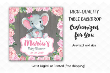 Pink Elephant Girl Table Backdrop, Flowers, Wooder, Rustic   Little Baby Elephant desert banner, back drop,watercolor elephant sign, pink