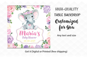Super Cute Pink and Purple Elephant Girl Table Backdrop, Flowers,   Little Baby Elephant desert banner, back drop,watercolor elephant sign, pink and purple