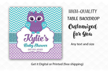 Purple Teal Owl  Table Backdrop,   Little Girl Baby  desert banner, back drop, Birthday Party