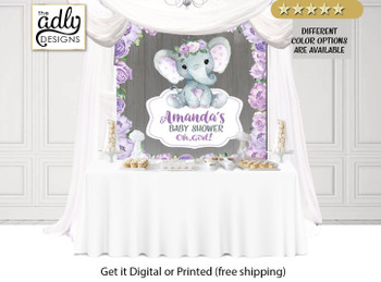 Rustic Elephant Girl Table Backdrop, Purple Flowers,    Baby Elephant, Backdrop, Banner, purple elephant sign, wooden