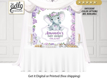 Purple Roses Elephant Backdrop,  Baby Girl Elephant,  Banner, purple elephant sign, wooden