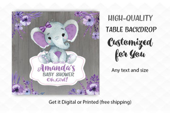 Rustic Baby Elephant,  Baby Girl Elephant,  Banner, purple, wooden,Digital Backdrop,,printed options,8 sizes