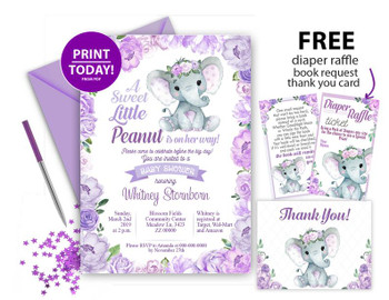 Lavander Elephant Girl,  Birthday  Invitation, Thank You Card and Centrepiece, Purple roses