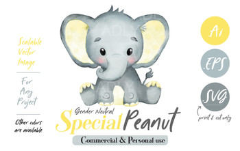 Yellow Baby Elephant, Gender, yellow gray  Clipart, SVG (print and cut only),vector, illustration