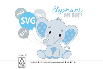 Boy Elephant SVG, blue gray little peanut clip art, vector