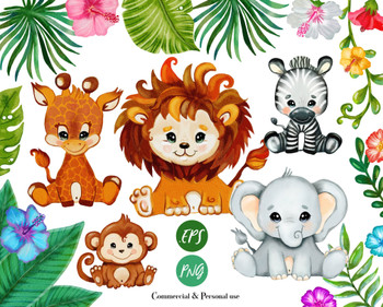 Baby animals Safari, lion, elephant, monkey,zebra, giraffe, Clip Art