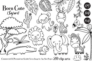 Black White Safari Animals, SVG, Clip Art