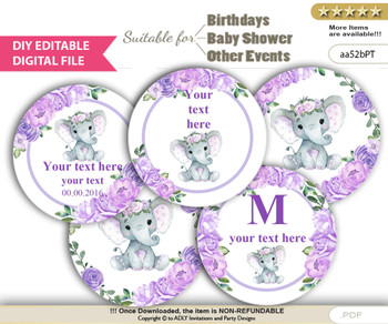 Baby Shower Girl Elephant Cupcake Toppers Printable File for Little Girl, Rustic, Lavender Rose