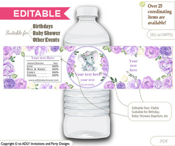 Text Editable, Purple Yellow Girl Elephant,  Water Bottle Label, print at home for any event