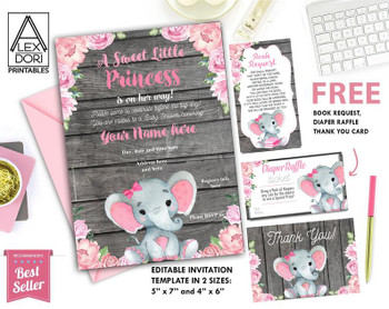Girl Elephant, Birthday  Invitation,  Wooden, rustic, pink flowers