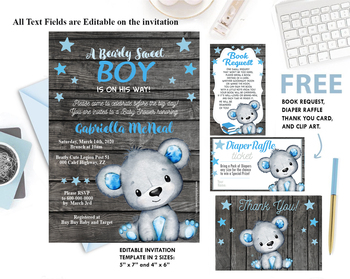 Teddy Bear, baby shower, invitation, Bear Boy