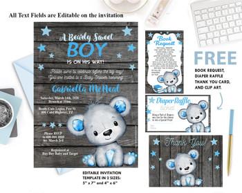 Teddy Bear, baby shower, invitation, Bear Boy