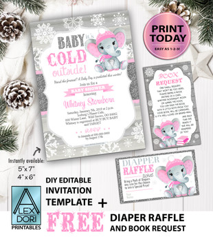 Winter Elephant Invitation in Pink & Gray with FREE book Request & Diaper Raffle