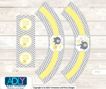 Printable  Boy Elephant Cupcake , Muffins Wrappers plus Thank You tags for Baby Shower  Yellow Grey,  Chevron