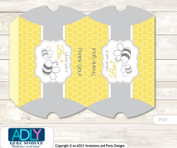 Babee Bumble Pillow Box for Candy, Little Treats or Small Gift of any Baby Shower or Birthday,  Bee ,  Neutral