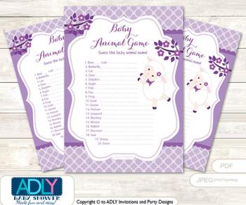 Printable Girl Lamb Baby Animal Game, Guess Names of Baby Animals Printable for Baby Lamb Shower, Ship, Purple