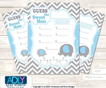 Grey Blue Elephant Dirty Diaper Game or Guess Sweet Mess Game for a Baby Shower Boy, Chevron