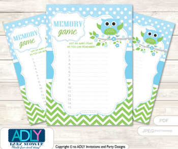 Boy Owl Memory Game Card for Baby Shower, Printable Guess Card, Spring, Blossom