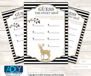 Boy Buck Dirty Diaper Game or Guess Sweet Mess Game for a Baby Shower Black, Stripes