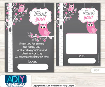 Girl  Owl Thank you Cards for a Baby Girl Shower or Birthday DIY Forest, Spring