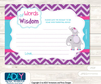 Turquoise Purple Elephant Words of Wisdom or an Advice Printable Card for Baby Shower, Pink