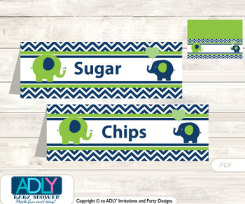 Printable Boy Elephant Buffet Tags or Food Tent Labels  for a Baby Shower or Birthday , Green, Blue