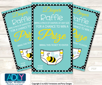 Neutral Bee Diaper Raffle Printable Tickets for Baby Shower, Black, Turquoise
