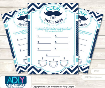 Mustache Beau Dirty Diaper Game or Guess Sweet Mess Game for a Baby Shower Teal Blue, Chevron