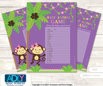 Printable Purple Monkey Baby Animal Game, Guess Names of Baby Animals Printable for Baby Monkey Shower, Pink, Jungle