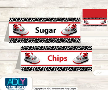 Printable All Star Jumpman Buffet Tags or Food Tent Labels  for a Baby Shower or Birthday , Black red, Jordan
