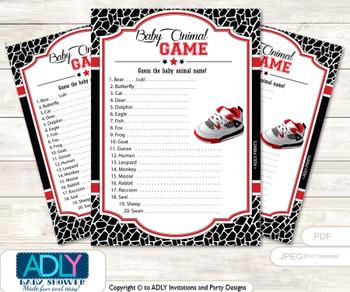 Printable All Star Jumpman Baby Animal Game, Guess Names of Baby Animals Printable for Baby Jumpman Shower, Black red, Jordan