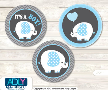 Printable  Boy Elephant Candy Kisses for Baby Boy Shower DIY Blue Grey , Chevron