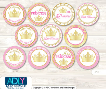Baby Shower Pink Princess Cupcake Toppers Printable File for Little Pink and Mommy-to-be, favor tags, circle toppers, Royal, Crown