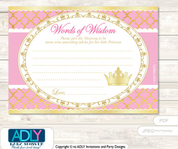 Crown Pink Princess Words of Wisdom or an Advice Printable Card for Baby Shower, Royal